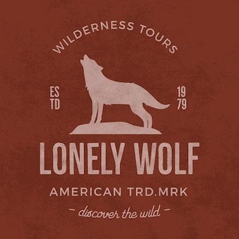 Oud wildernisetiket met elementen van de wolf en typografie.