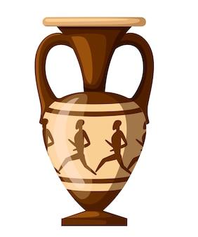 Oude amfora illustratie. amfora met mensen en twee handgrepen. griekse of romeinse cultuur. bruine kleur en patronen. vlakke afbeelding geïsoleerd op een witte achtergrond. grieks aardewerk pictogram.