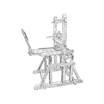 Oude antieke de machinehand getrokken schets van de drukpers