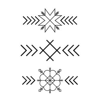 Oude baltische folk ster of bloem sneeuwvlok symbool.