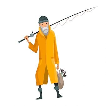 Oude bebaarde man met hengel en een zak in zijn handen.