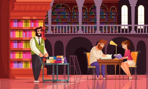 Oude bibliotheekboeksamenstelling met uitzicht op galerij met boekenkasten vintage karakters van bibliothecaris en lezers