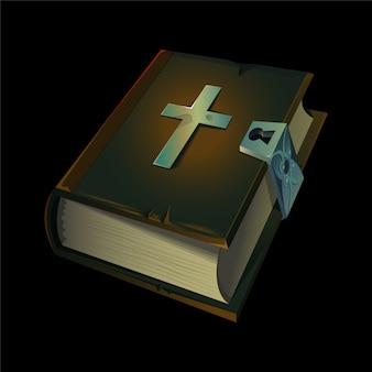 Oude bijbel boekpictogram met metalen christelijke kruis erop.