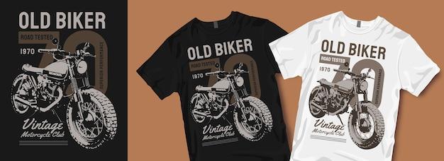 Oude biker vintage motorfiets t-shirt ontwerpen