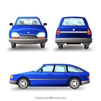 Oude blauwe auto in verschillende uitzichten