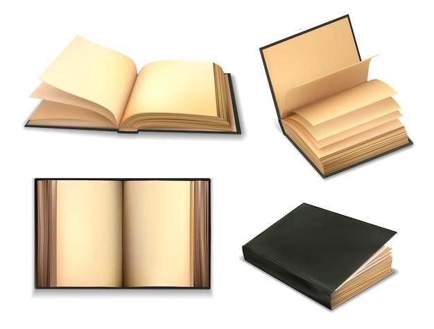 Oude boeken, open met vintage antieke omslag van oud papier, geïsoleerd. retro bibliotheek, onderwijs of dagboek en literatuur oude boeken met zwarte leren omslagen en lege blanco pagina's