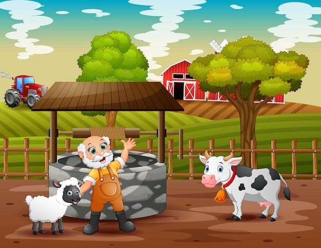 Oude boer en dieren in de landbouwgrond