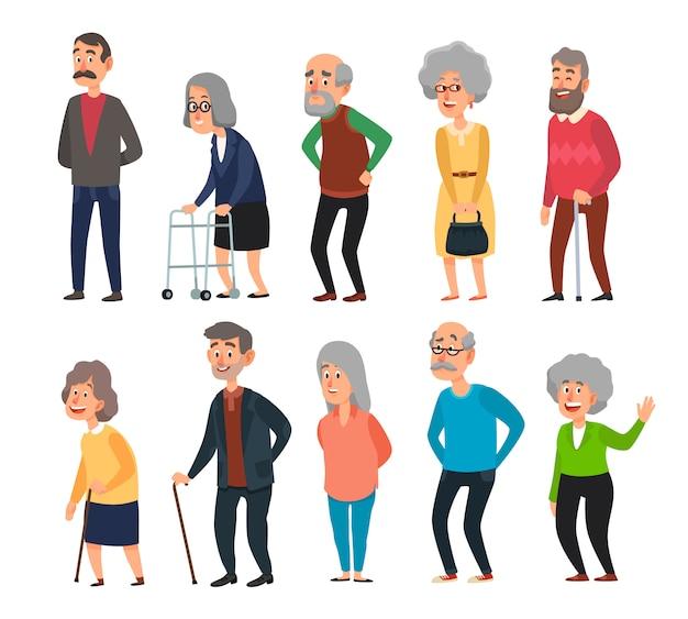 Oude cartoon senioren. oude mensen, gerimpelde hogere grootvader en lopende grootmoeder met grijze haar geïsoleerde illustratiereeks