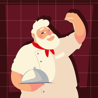Oude chef-kok met professionele restaurant vectorillustratie schotel werknemer