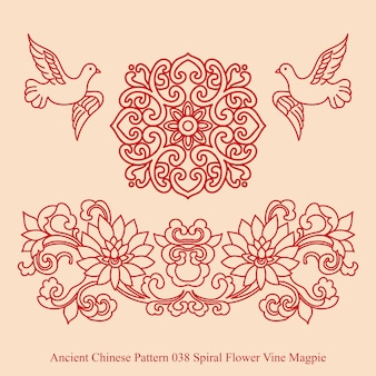 Oude chinese patroon van spiraalvormige bloem vine ekster