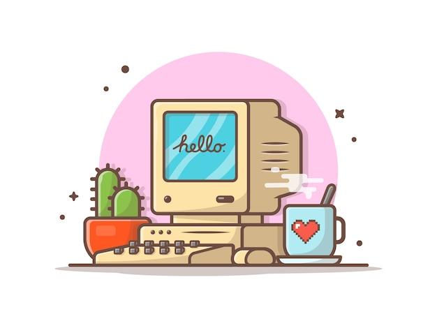 Oude computerdesktop met koffie en cactus