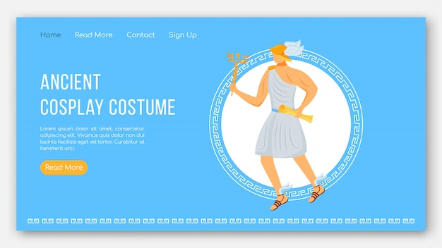 Oude cosplay kostuum bestemmingspagina sjabloon. feest van de griekse goden. mythologie website-interface idee met illustraties. homepage layout, webbanner, webpagina cartoon concept