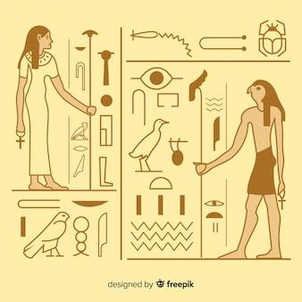 Oude de hiërogliefenachtergrond van egypte met vlak ontwerp
