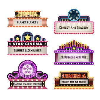 Oude de neonlichtuithangborden van het theaterfilm in de retrostijl van jaren 30. lege bioscoop en casino uithangbord voor bioscoop billboard, komedie en tragedie, superheld en blockbuster