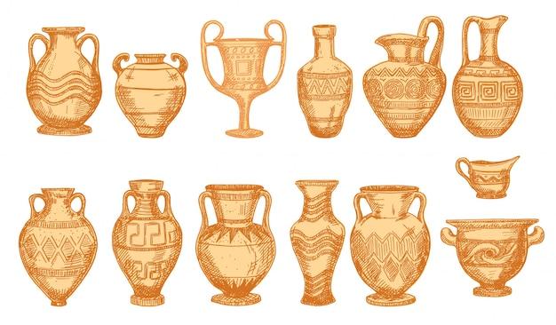 Oude decoratieve potten die op wit worden geïsoleerd