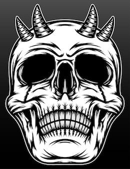 Oude demonische schedel met hoorn geïsoleerd op zwart