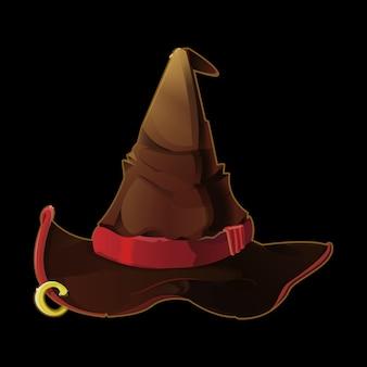 Oude druïde, tovenaar of heksenhoed. halloween fee hoed. realistische illustratie spel pictogram, item.