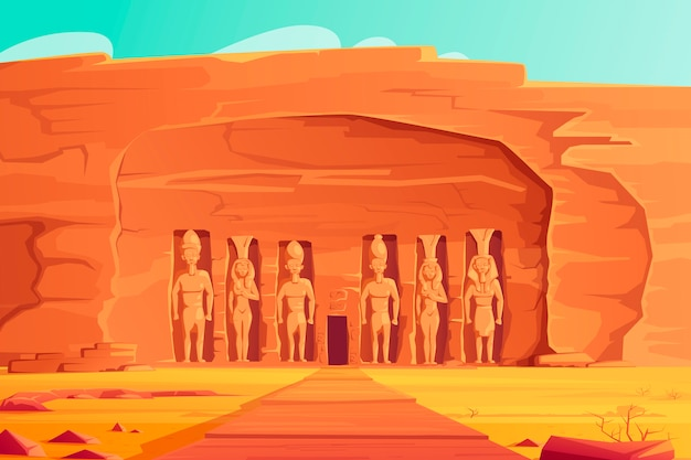 Oude egypte, abu simbel kleine tempel, cartoon