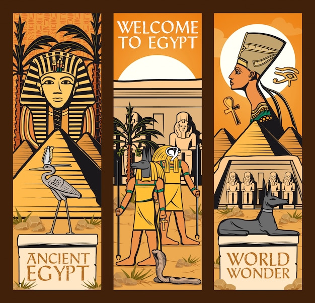 Oude egypte banners. grote piramides, goden