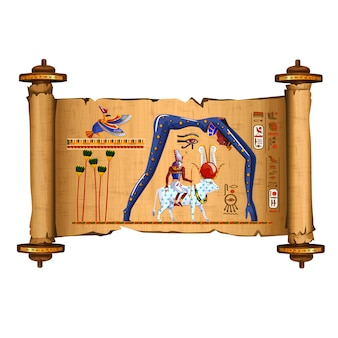 Oude egypte papyrus scroll cartoon