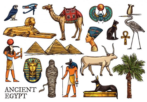 Oude egypte religie god, faraon piramide, mummie