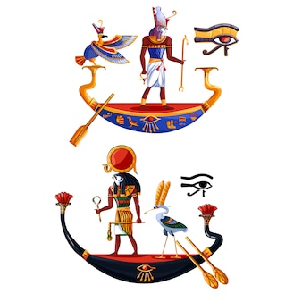 Oude egypte zonnegod ra of horus cartoon