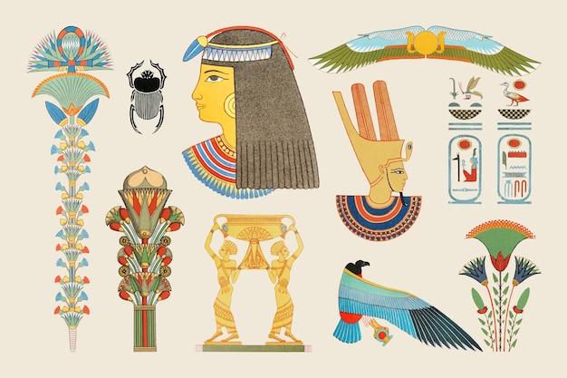 Oude egyptische decoratieve illustraties
