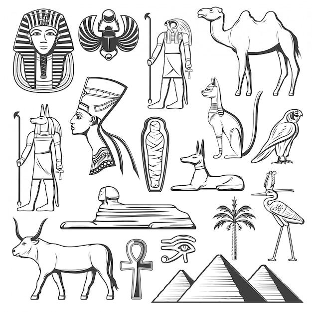 Oude egyptische farao, mummie, piramides, sfinx