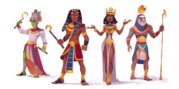 Oude egyptische god amon, osiris, farao en cleopatra. vector stripfiguren van de mythologie van egypte, koning en koningin, god met valk hoofd, horus en amon ra