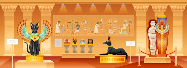 Oude egyptische museum egypte illustratie