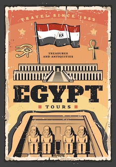 Oude egyptische tempel en vlag. reizen naar egypte