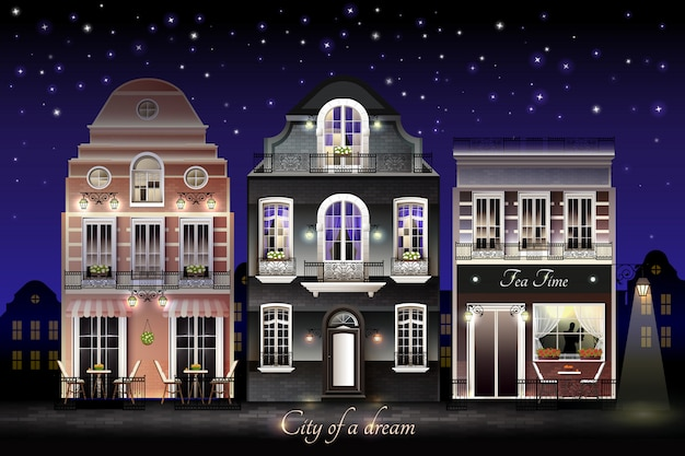 Oude europese huizen illustratie