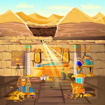 Oude farao van egypte verloor graf