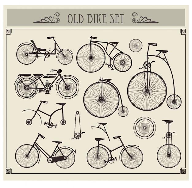 Oude fietsen ingesteld
