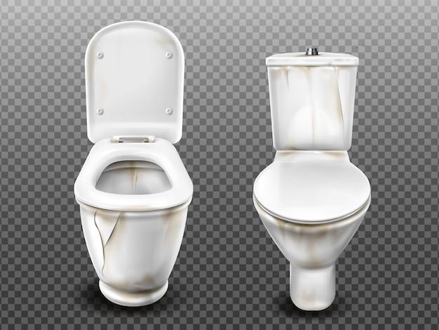 Oude gebroken vuile wc-pot