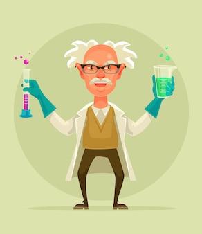 Oude gekke wetenschapper karakter houden reageerbuis