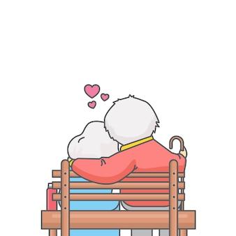 Oude geliefden zittend op bankje vectorillustratie