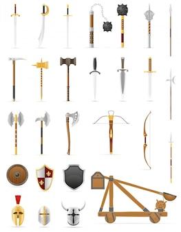 Oude gevechtswapens geplaatst pictogrammen stock vectorillustratie