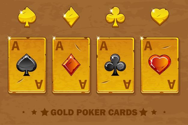 Oude gouden vier aas poker speelkaarten.