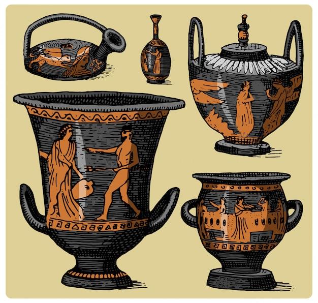 Oude griekenland, antieke amfora set, vaas met vintage levensscènes, gegraveerde hand getrokken schets of houtsnede stijl, oud ogende retro