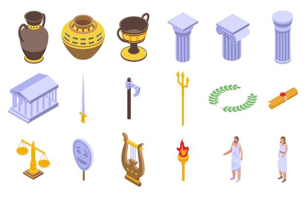 Oude griekenland pictogrammen instellen