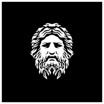 Oude griekse god sculptuur filosoof gezicht als zeus triton neptunus met baard en snor logo