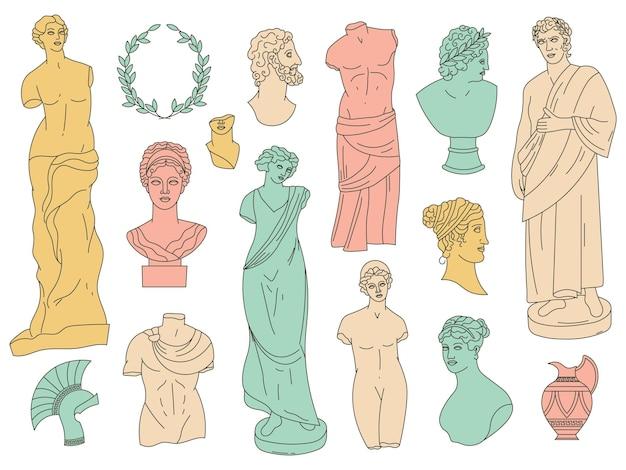 Oude griekse goden antieke beelden en antieke beeldhouwwerken. antieke goden marmeren hoofden, bustes en monumenten vector illustratie set. griekse goden en godinnenstandbeelden. antieke en oude beeldhouwkunst