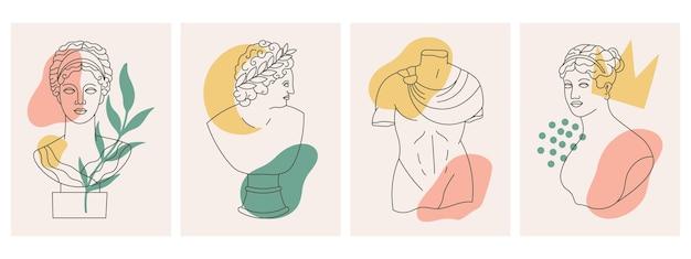Oude griekse godenbeeldhouwwerken, standbeelden abstracte posters. antieke godinnen standbeeld en beeldhouwkunst hedendaagse posters vector illustratie set. kaarten met abstracte antieke beeldhouwkunst