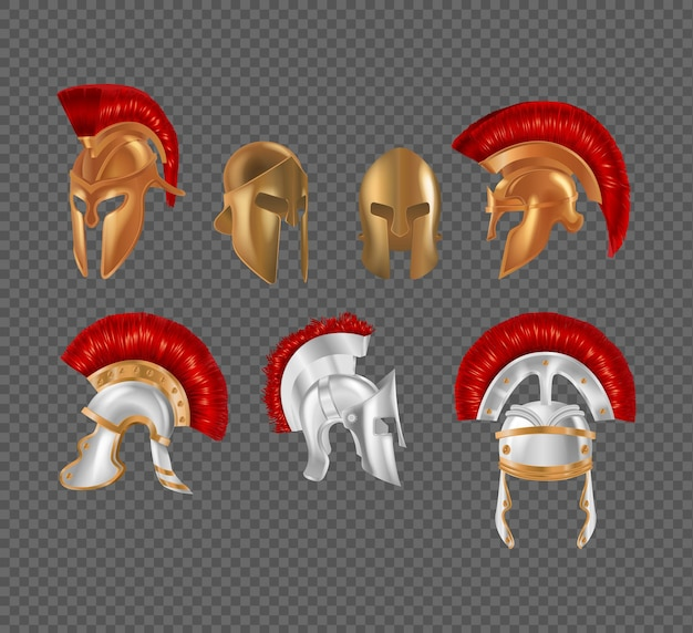 Oude griekse krijger helm set. spartaans antiek bronzen beschermend hoofddeksel. traditionele romeinse metalen hoofdveiligheidsuniform versierde rode borstel. militaire gladiatorgevecht outfit realistische vector