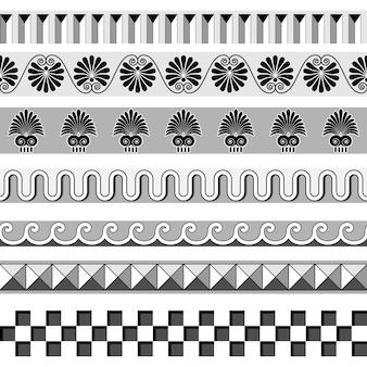 Oude griekse naadloze randen en frames patroon set uit griekenland