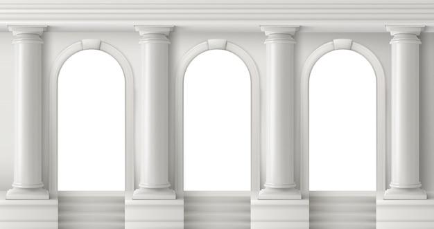 Oude griekse tempel met witte pilaren