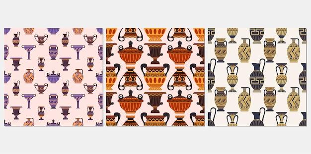 Oude griekse vazen naadloze patroon set