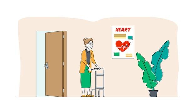 Oude grootmoeder verhuist met hulp van rollator met voorwieltjes in verpleeghuis of ziekenhuis