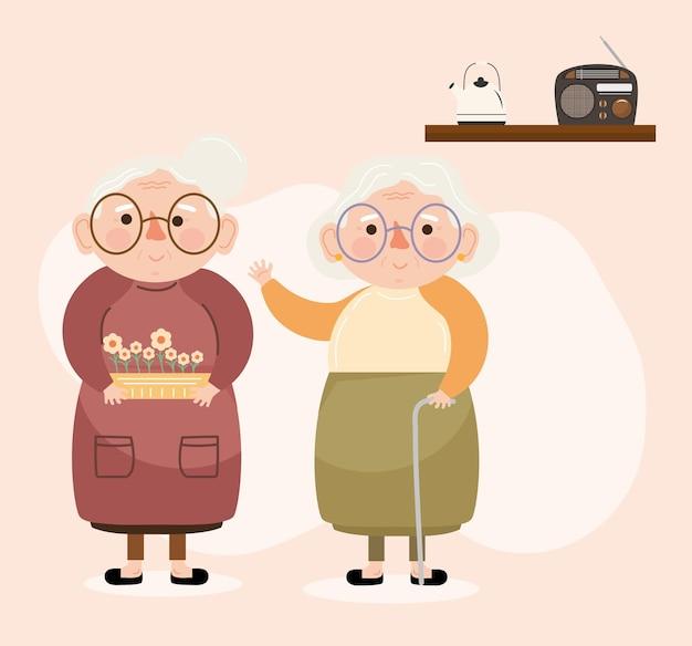 Oude grootmoeders karakters